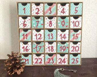 Advent Calendar, Christmas Countdown, With Drawers, Christmas Calendar, Retro Christmas, 25 Days of Christmas, Red Aqua, Aqua Red