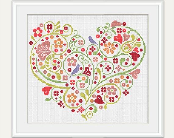 scheme for cross stitch wedding cross stitch pattern heart cross stitch wedding gift embroidery pdf instant download