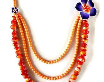 Jade bead necklace, Multi strand necklace, Orange necklace, Flower necklace, Multi layer necklace, Jade jewelry, Long statement necklace