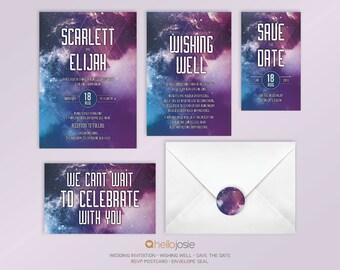 Galaxy Geek Sci Fi Printable DIY Wedding Invitation Stationery Set