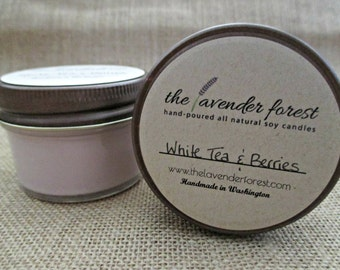 white tea & berries // hand-poured 4oz jelly jar soy candle // natural soy wax // highly scented // rustic