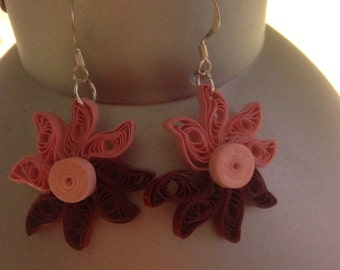 Paper earring with pink flowers