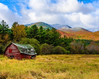 Old Barn Photo, Keene Valley Barn, Adirondack Photograph, Fall Foliage, Landscape Art, Mountain Photo, Nature Print, Keene Valley Photo