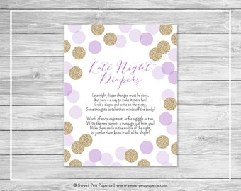 Purple and Gold Baby Shower Late Night Diapers Sign - Printable Baby Shower Late Night Diapers - Purple and Gold Baby Shower - SP109