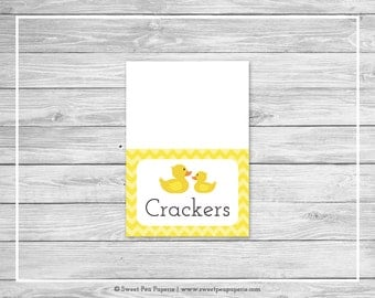 Rubber Ducky Baby Shower Buffet Labels - Printable Baby Shower Buffet Labels - Rubber Duck Baby Shower - Food Labels - EDITABLE - SP121