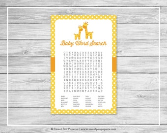 Giraffe Baby Shower Baby Word Search Game - Printable Baby Shower Word Search Game - Yellow Giraffe Baby Shower - Baby Word Search - SP131
