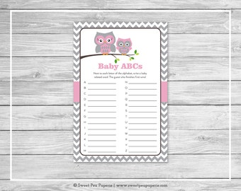 Owl Baby Shower Baby ABCs Game - Printable Baby Shower Baby ABCs Game - Pink Owl Baby Shower - Baby ABCs Game - Owl Shower Game - SP134