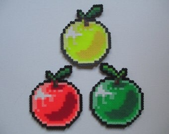 Perler Bead Red, Yellow and Gold Apples