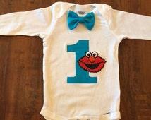 Custom Elmo Bow Tie Onesie
