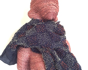 Handmade shibori silk scarf