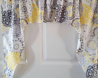 Yellow and gray flower kitchen any room swag valance curtain