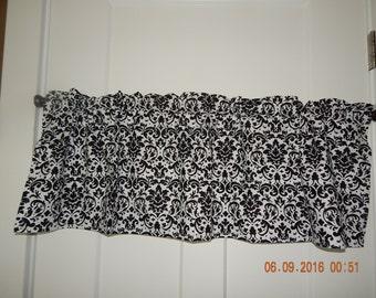 black and white damask curtain valance