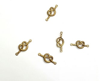 20 Pieces Pretzel Knot Connector, Celtic Knot, Raw Brass, 2 Loops, 17x7mm