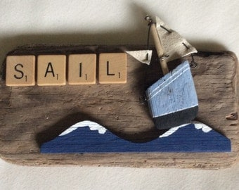 50th Parallel driftwood, sailboat plaque, cute and quirky
