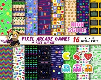 Arcade Games digital paper, pacman clipart, arcade party, gamer, pixel, tetris, zelda, space invaders, donkey kong, Scrapbook