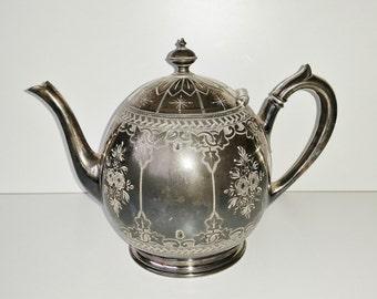 Victorian Silverplate Teapot Philip Ashberry Sheffield Silver Plated Tea Pot c1880 Ivy Engraved Metal Britannia Antique Chic Vintage Wedding