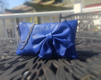 Blue Leather Bow Wristlet