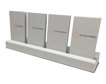 Multiple Vertical Business Card Holder - White Quartz - Office Desk Home, Recycled Quartz