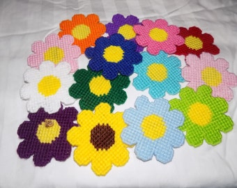 Plastic canvas colorful flower magnets