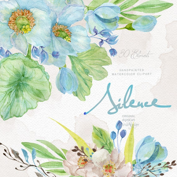 Silence Flowers Watercolor Clipart Spring Flowers Clipart