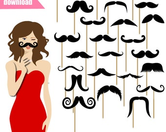 24 Printable Mustache Photo Booth Props - Mustache Photobooth Props - Moustache Printable Props - Little Man Party - JK0203