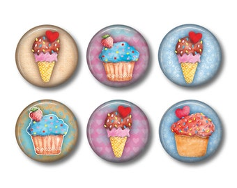 Fridge Magnets, Cupcake Magnets, Kitchen Magnets, Gift for Her, Gift for Baker, Button Magnets
