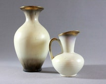 Rare Vintage Mid Century CARSTENS VASES SET of 2 Instant collection White Gold Collectors 40s 50s Fiftees Art Deco