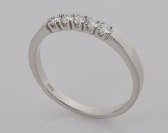 Five Stones Band, Delicate, 5 Diamonds Ring, 14K White Gold Wedding Ring, Promise Ring, Fine Diamonds Band, Gift Ring