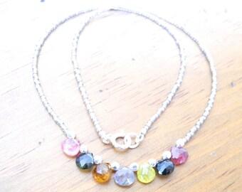 Tourmaline Necklace, Faceted Tourmaline Teardrop Necklace, Tourmaline on Miyuki Delica Necklace