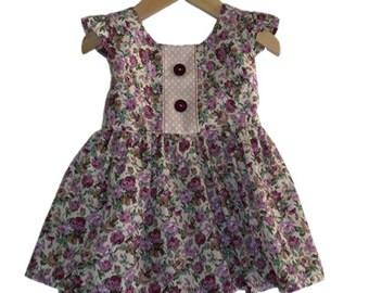 girls top  SIZE 4  floral top girls, girls peplum top,  girls tunic top, girls dress top, floral top girls,  floral cotton top girls