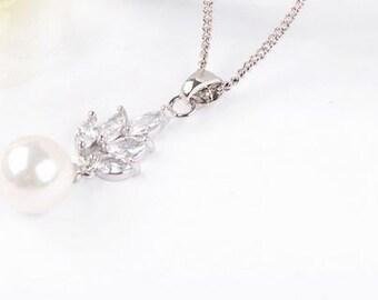 Bridal CZ Pendant, Cubic Zirconia Necklace, Bridal Necklace, Wedding Pendant,  Pearl Pendant, Bridal Pendant, Pearl CZ Pendant