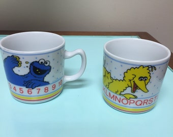 Sesame Street Big Bird and Cookie Monster Porcelain Mugs