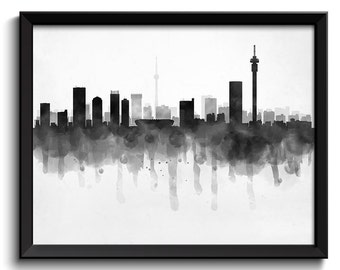Johannesburg Skyline South Africa Cityscape Art Print Poster Black White Grey Watercolor Painting