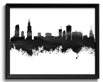 Chicago Skyline Black White Grey Watercolor Painting Chicago Illinois Cityscape Chicago Wall Art Print Chicago Poster