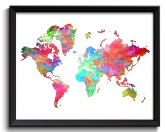 Colorful World Map Print Watercolor World Map Poster Print Pink Blue Purple Green Red Rainbow Globe Modern Abstract Landscape Art Painting