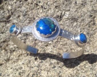 Azurite malachite cuff bracelet
