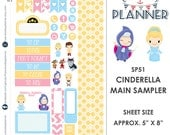 Cinderella Sampler Kit | Over 30+ Kiss-Cut Stickers | Erin Condren and Mambi  | Disney Inspired   SP51