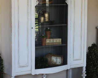 Hand Painted Distressed Bowed Glass China Cabinet