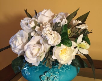 "White Silk Flower Arrangement in Turquoise Ceramic Vase. 13""H x16"" W. Roses, Ranunculus, Tulips. Handmade. Unique."