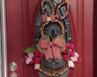 Easter Wreath, Easter Bunny Wreath, Bunny Wreath, Grapevine Bunny Wreath, Tulip Wreath, Front Door Wreath, Spring Wreath