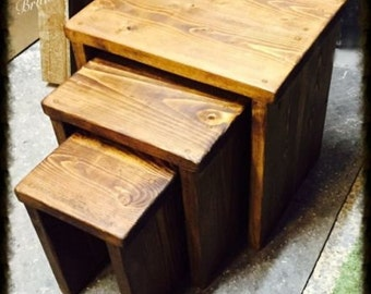 Hand Made Nest of Tables - Chunky Rustic Wood