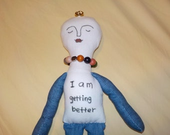 perfect looks imperfect hand made doll, positive word doll,