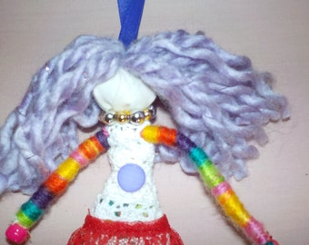 wish granted doll, handmade hanging doll,positive energy doll, one of a kind doll