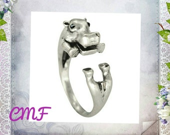 Hippo Ring 925 Sterling Silver  Ring Adjustable Ring Wrap Ring