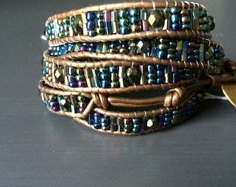 Handmade Blue Glass Leather Wrap Bracelet
