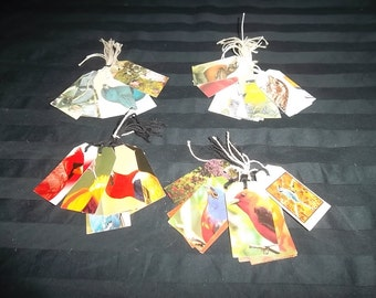 Tags, Repurposed from Greeting Cards, Vintage and New, Set of 10 Birds