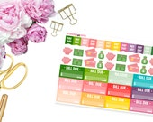 Money Management and Bill Dues -- Matte Planner Stickers