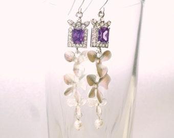 Starlight Bride Earrings. Purple Swarovski Bridal Earrings. Wedding Jewelry. Silver Bridal Swarovski Earrings.Silver Cubik Zirconia Earrings