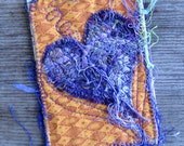 "Purple Heart ATC, Fabric and Fiber ACEO, Heart Artist Trading Card, Valentine Gift, Gift Under 20, 3.5"" x  2.5"""