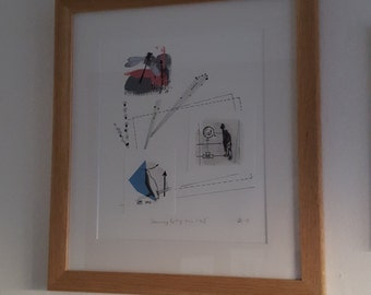 Mixed media collage framed and signed